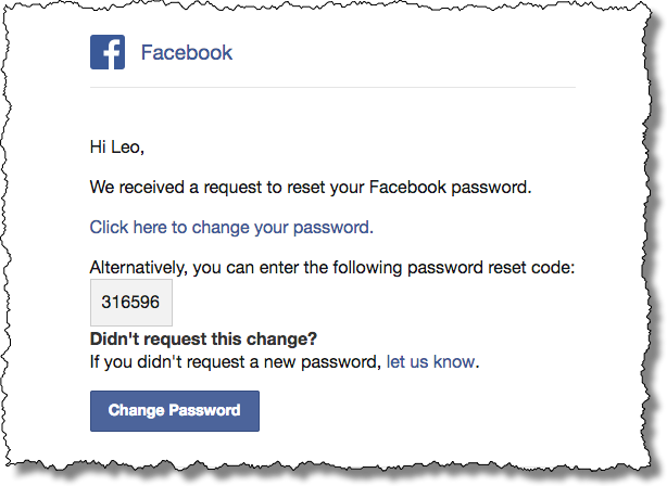 Social Engineering: Fake Facebook Password Reset Email